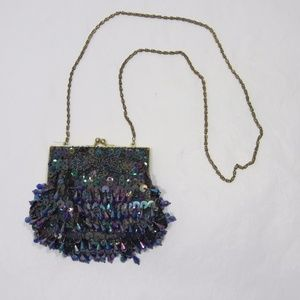 Vintage Heavy Beaded Sequined Evening Bag *A16