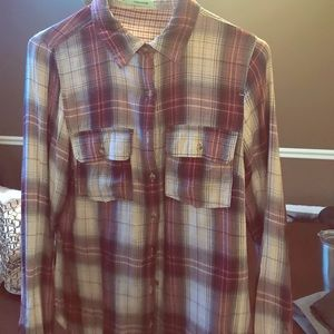 Maurice's Plaid blouse burgundy small