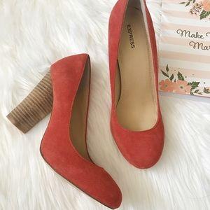 Express Orange Block Heels