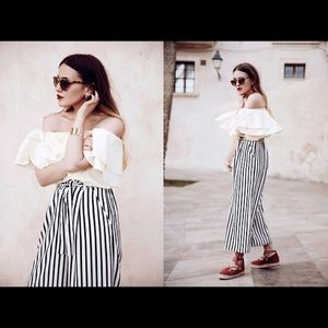 Zara black and white striped culottes.