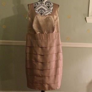 Dresses & Skirts - Dana Kay Shutter Pleat Layer Latte Dress 20 W