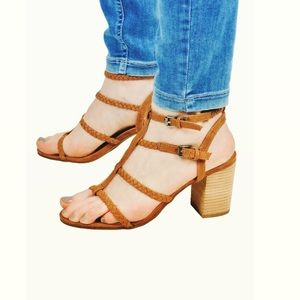 Leather Tan Braided Strappy Sandals