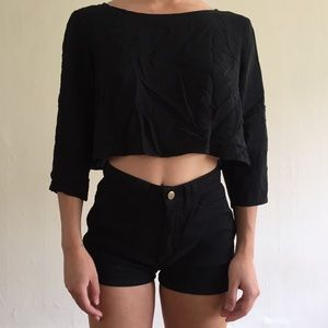 Black American apparel crop top with button back
