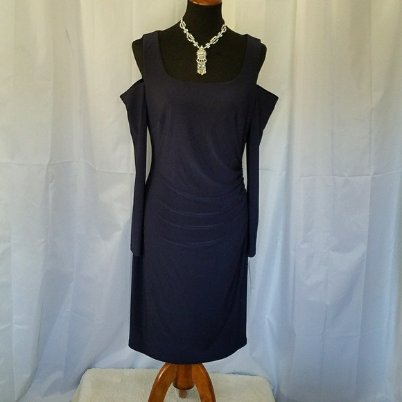 31e4e47ed9 RALPH LAUREN NAVY BLUE OPEN SHOULDER DRESS 14