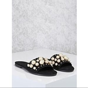 Faux Pearl Slide Sandals