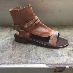 Taupe Leather Boho Sandal
