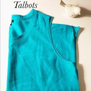 NWOT size 18 turquoise silk Talbots sleeveless top