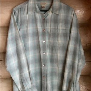 L.L.Bean Light Blue Plaid Flannel