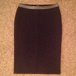 Charcoal brocade knit Anthro pencil skirt EUC
