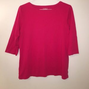 L.L. Bean 100% Cotton 3/4 sleeve Jewelneck Tee