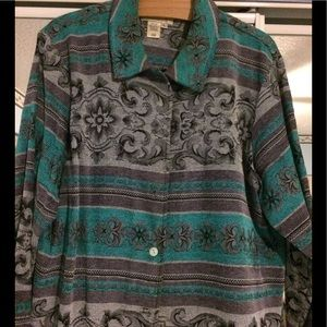 Beautiful teal and gray tapestry jacket