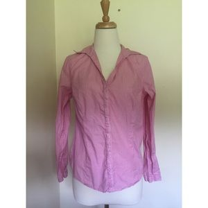 Pink and white striped blouse.