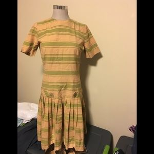 Vintage Striped Dress with pleated skirt.