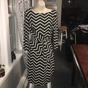 Ralph Lauren black and cream geometric dress