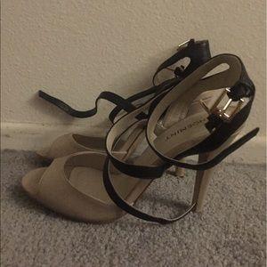 Nude & black strappy heels