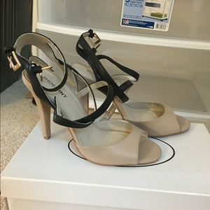 Nude & black strappy heels