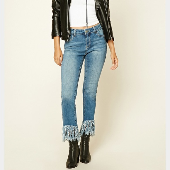 282e5823013 Forever 21 Denim - Fringe Hem Jeans
