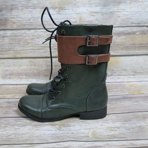 Forever 21 hunter green lace up combat boots
