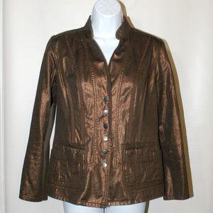 Metallic copper Jacket button up Petite 6