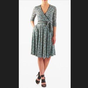 New Eshakti Aqua Bird Fit & Flare Wrap Dress 22W