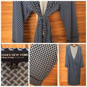 Blue and Black wrap dress size 3x