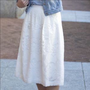 NWT J. Crew White Midi Skirt in Ornate Lace Sz 8