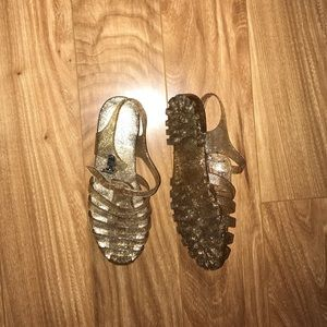Gold sparkle Jelly sandals