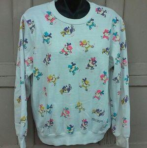 Vintage 1986 80s Bear Print Sweatshirt Rainbow
