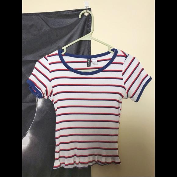 84e0dbbf18 H&M Tops   Hm White Ribbed Red Blue Striped Ringer Tee   Poshmark