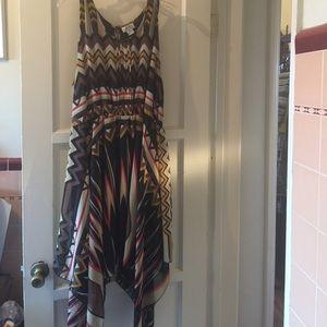 Black and brown chiffon summer dress