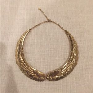 Gold wing collar necklace