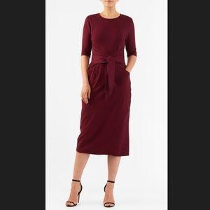 New Eshakti Garnet Red Midi Pencil Dress L 14