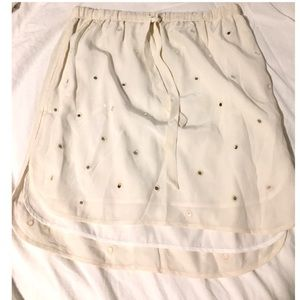 Club Monaco Ivory Mirrored Skirt