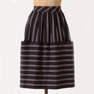 Maeve Nubby Striped Navy and White Pocket Skirt 4