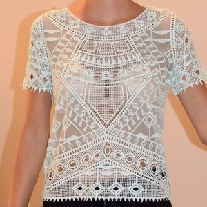 Forever 21 crochet detailed see thru cropped tee