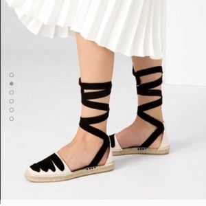 Leather lace up espadrilles