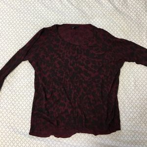 Women's H&M long sleeve wine cheetah print shirt