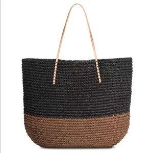 Merona Large Straw Brown Black Tote Bag new