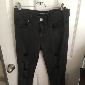 Skinny distressed mid rise jeans from express