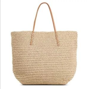 Merona Large Straw Tote Bag Natural New NWOT