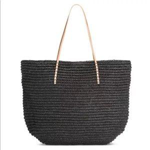 Merona Large Black Straw Tote Bag New NWOT