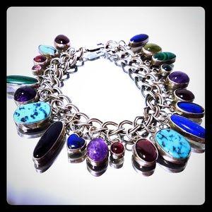 Vintage Gemstone Sterling Silver Charm Bracelet