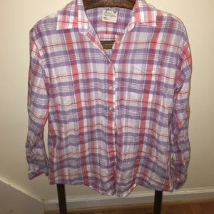 American eagle purple and white medium button up