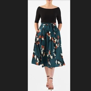 New Eshakti Leaf Fit & Flare Dress 4X 30W