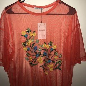 Zara Sheer Orange Shirt