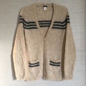 J. Crew Mohair retro-stripe cardigan
