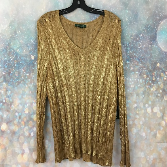 NWT Ralph Lauren gold metallic cable knit sweater c04d04851