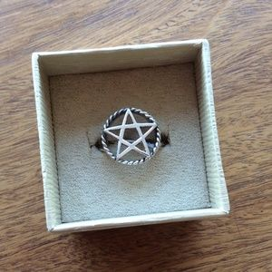 925 Real Silver Pentagram Star Ring - Witch!