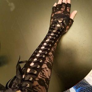 Flower print long lace gloves