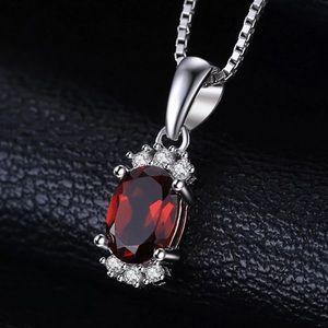 Jewelry - 1.2 ctw Genuine Garnet pendant w/925SS chain